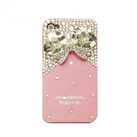 Handmade hard case for iPhone 4 & 4S: Bling crystal bow (custom are welcome)