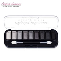 Perfect Summer 9 Color Professional Classic Black Gray White Eye shadow Palette Makeup Matte Shimmer Eyeshadow