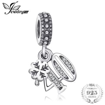 Jewelrypalace 925 Sterling Silver Charms 40 Anniversary Gifts Hanging Cubic Zirconia Charm Fit Bracelets Bangles Number Jewelry