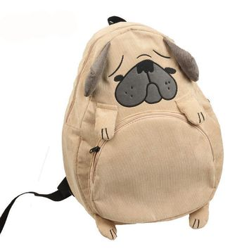 Cute Fox, Sad Dog Corduroy Backpack