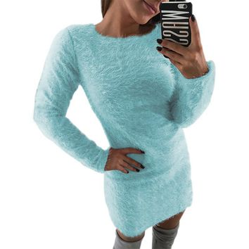 Fuzzy Knitted Sweater Women Bodycon Mini Dress 2019 Autumn Female Warm Long Sleeve Party Winter Plus Size Mujer Dresses GV033