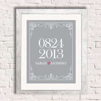 8x10 Wedding Date Art Print - Special Dates Wedding Bridal Shower Custom Personalized Gift
