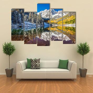 Winter Foliage At Maroon Bells Multi Panel Canvas Wall Art