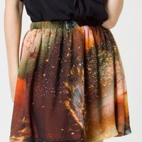Multi Prints Skirt - Galaxy Skater Reversible Skirt | UsTrendy