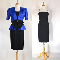 80s Dress / 80s Glam Dress / 80s Peplum Dress / Evening Dress / Formal Dress / Party Dress / 80s Dress and Jacket / 80s Suit / LBD