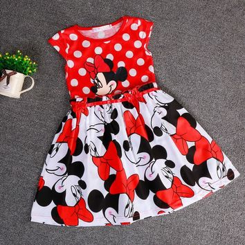 New Summer sping Girls Dress Tutu Princess Minnie Sleeveless Cartoon Cotton Kids Dresses Christmas New Year Clothes