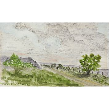 Small Watercolor Landscape Painting