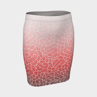 Ombre red and white swirls doodles Fitted Skirt Fitted Skirt