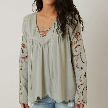 BLUSH NOIR LACE-UP TOP