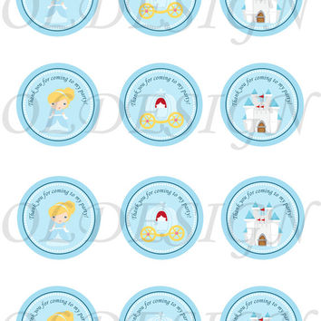 Cinderella inspired Stickers, Cupcake Topper, Tags. Birthday partys. Digital file