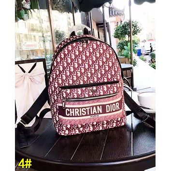 Dior Fashion Women Men Leather Canvas Daypack School Bag Bookbag Backpack 4#