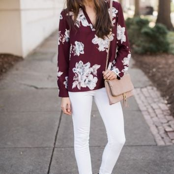 Everly Sounds Promising Burgundy Print Top