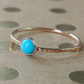 Turquoise rose gold Ring. Sleeping Beauty Gemstone stacking ring in rose Gold, Turquoise stone ring, Skinny Gemstone Ring,  Made to order