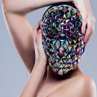 Rainbow Darkness .. Custom Masquerade mask handmade covered jewels