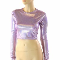 Long Sleeve Lilac Purple Holographic Crew Neck Crop Top Rave Festival Clubwear