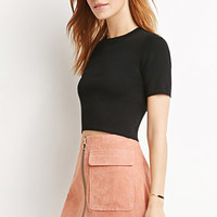 Genuine Suede A-Line Skirt