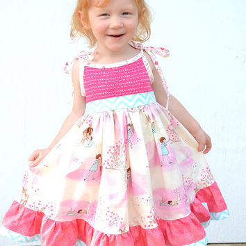 Girls Twirl Dress, Toddler Summer Dress, Girls Pink Dress, Party Dress, Boutique Dress, Girls Summer Clothes, Girls Knit Dress