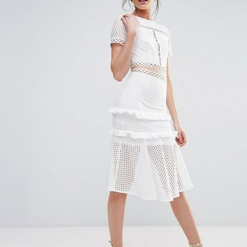 True Decadence Tall Cutout Lace Dress With Frill Hem at asos.com
