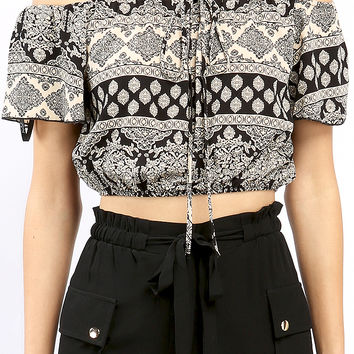 Abstract Print Crop Top