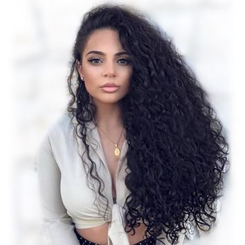 Lace Front Human Hair Wigs With Pre Plucked Bleached Knots Curly Wig Brazilian 13*4 Lace Front Wig Remy For Women Natural Black