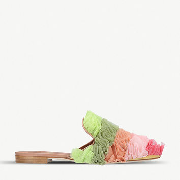MALONE SOULIERS Marianne ruffled backless mesh mules