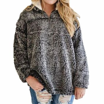 Fleece Ladies Pullover Zippers Tops Hoodies [362176479261]