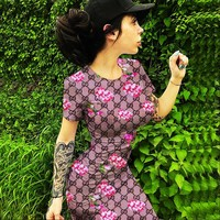 GUCCI New Fashion More Letter Floral Print Women Short Sleeve Dress