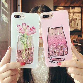 Luxury Perfume Bottle Cases Quicksand Dynamic Liquid Glitter Phone Coque Cases For iPhone 6 6s 7 7 Plus Case Caqa Fashion Cover
