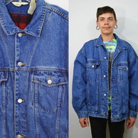 Denim Jacket Mens Large Fleece Lined Soft Grunge Hipster 1990s Jean Jacket Men's Clothing Womens XL Oversize Unisex