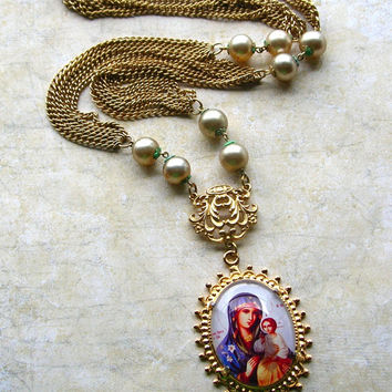 Upcycled Madonna and Child Necklace