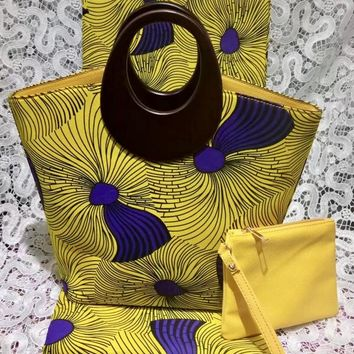 Blink Yellow African Print Hobo Bag with Wallet