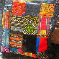 Men's Patchwork Hmong Style Rustic Messenger Travel Shoulder Man Bag / Etnic Tribal Hippie Boho Festival Hipster Bag / Men's Accessories