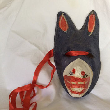 Vintage Paper Mache Dog Mask Blue Red White Halloween Mardi Gras Costume Wall Art Decor Mexican Wolf Masquerade Day of the Dead