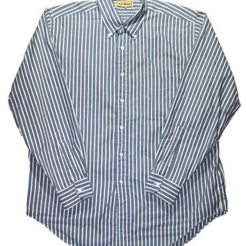 ON SALE Vintage LL Bean Striped Button Down Shirt Mens Size 16 1/2 - 35 (Large)
