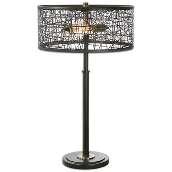 Uttermost 26131-1 Alita Rustic Black Two-Light Table Lamp with Drum Shade