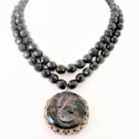 Cameo Pendant Necklace, Black Glass Bead Necklace, Double Strand Crystal,  Wired Beads , Jet Black Beads - Upcycled Necklace