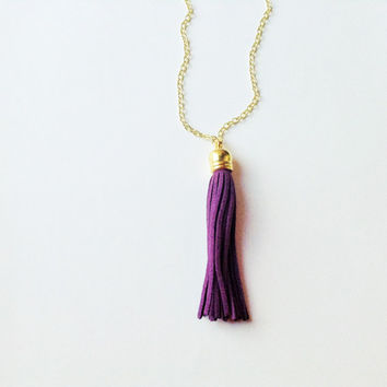 Tassel necklace,purple tassel necklace, tassel jewelry, colorful jewelry, purple necklace, layering necklace, statement necklace