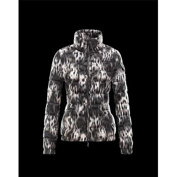 Moncler SABY animal print Black Jackets Polyester Womens 41457032EJ