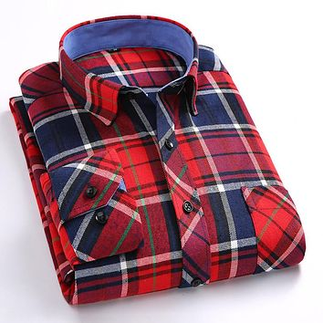 New Arrival Top Quality Flannel Slim Fit Formal Plaid Men Shirts Long Sleeve Business Casual Checked Thicken Shirts
