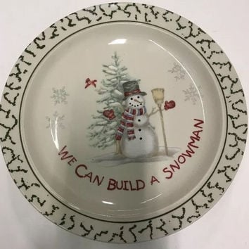 We Can Build A Snowman Stoneware 3 Christmas Holiday Design Pattern Dinner Plate