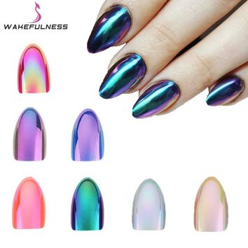 WAKEFULNESS 12Pcs Holographic Stiletto False Nails Tips Mirror Chrome Pigment Effect UV Gel Fake Nail Art Tools