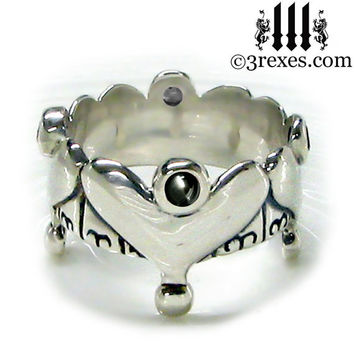 Silver Heart Half Crown Engagement Ring Gothic Black Onyx Stones Size 8.5