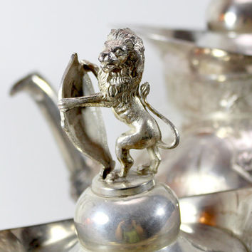 c1800s Victorian Antique Meriden Co Silver Plated Coffee or Tea Pot - Matching Creamer and Sugar - Lion & Shield