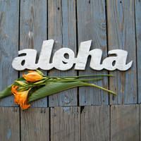 Aloha Sign Wooden Hawaiian Hello Greeting by SlippinSouthern