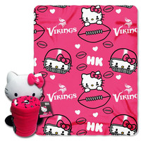 Minnesota Vikings NFL Hello Kitty with Throw Combo