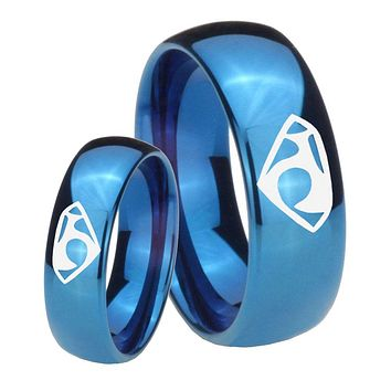His Hers Mirror Blue Dome House of Van Tungsten Carbide Wedding Rings Set