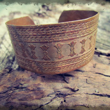 Vintage Indian Engraved Rustic Women's Copper Cuff Bracelet