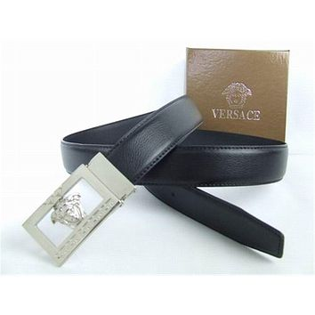 Versace Collections Men Versace Belt Black Leather Silver Buckle Stainless Adjustable