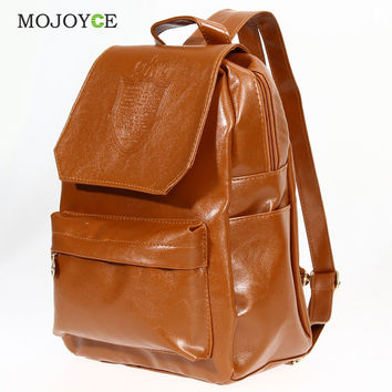 Fashion Oil Leather Backpack Women School Bags for Teenagers PU Leather Backpack 4 Colors Travel Bag  Pouch Mochila Feminina