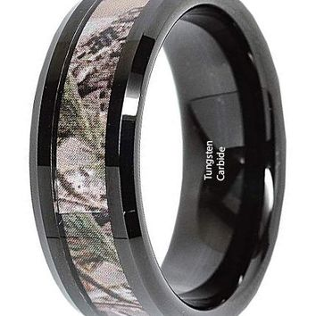 CERTIFIED 8mm Men's Tungsten Ring Real Oak Camouflage Black Plated Wedding Band